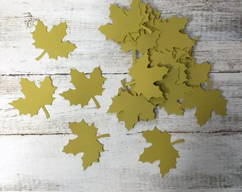 Leaf Die Cut - olive green paper - pack of 25 - nature, fall, autumn, leaves turning, harvest, scrapbooking