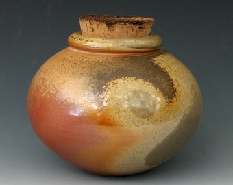 WOOD FIRED JAR #3 - Wood Fired Bottle - Spice Jar - Corked Jar - Wood Fired Urn - Apothecary Jar - Apothecary Bottle - Wood Fired Pottery
