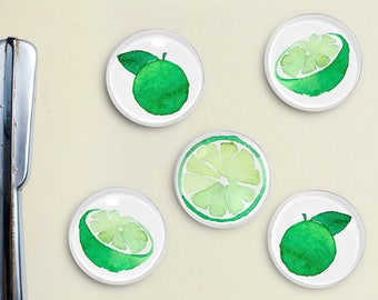 Watercolor Lime Glass Magnets - Orange, Art, Hand drawn, Painted, Watercolor, kitchen decor, refrigerator magnets, cute gift, party favor