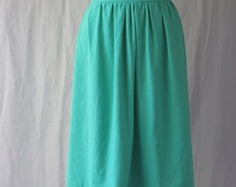 Linen Green Mid Length Skirt