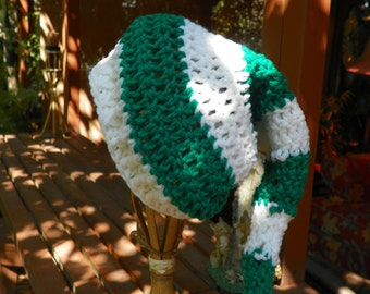 Santa Baby Hat Green and White Perfect for Christmas Hand Crochet Sizes 0-Adult