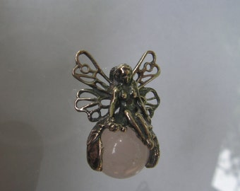 Sterling Silver Fairy Pendant With Rose Quartz