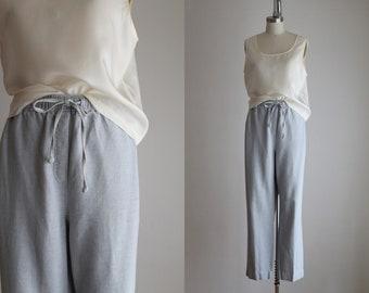 cloud blue linen trousers