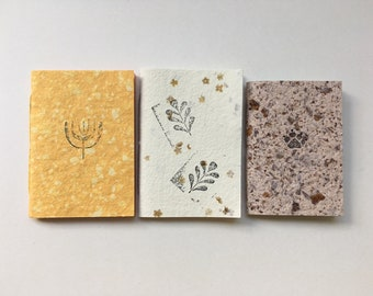 Handmade paper mini notebooks, recycled coloured, stamped notebooks, teachers' gifts, party bag fillers, stocking fillers, zero waste gift