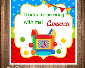 Printable Bounce House Gift Tags, Bounce House Birthday Party, Digital Bounce House Tags