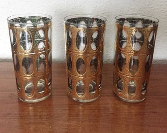 Vintage Mid Century  Modern Hi Boy Tumblers with Gold Oval Crackle Pattern. Manufactured by Culver.