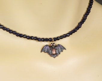 Bat Necklace for Charity - Flying Bat - Hand Painted Bat Choker Every Dollar Goes to Help Bats in the Wild - Bat Jewelry w/ Crystals