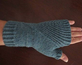 Mitts, Fingerless Gloves, Hand Knit Acrylic With Slanted Rib Design, Ready To Ship