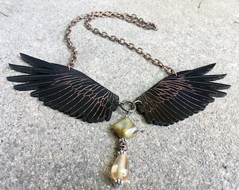 Wings Necklace, Lasercut Jewelry, Raven Jewelry, Raven, Handmade Jewelry, Statement Necklace, Gothic Jewelry, Steampunk Jewelry, Copper
