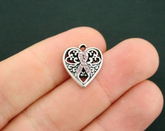 2 Breast Cancer Charms Pink Ribbon Awareness Heart with 9 Pink Rhinestones - SC5311