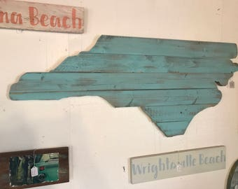 Large North Carolina Wooden NC Cutout Distressed Sea Foam Finish Wall Art and Wall Decor