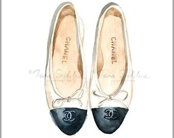Chanel Ballerinas (Print), Chanel Flat Shoes, Fashion Illustration, Chanel Illustration, Fashion Wall Decor, Fashion Poster, Art Poster