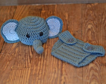 Elephant Beanie with Adjustable Diaper Cover