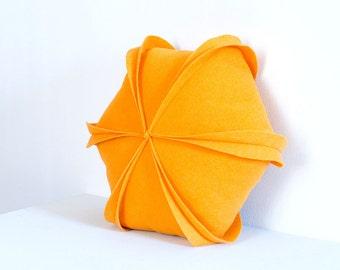 "Yellow pillow / Felt Pillow / Geometric / Hexagon / Throw Pillow / 18"" x 18"" / Decorative Pillow"