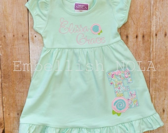 Shabby Rose Applique Mint Ruffle Dress
