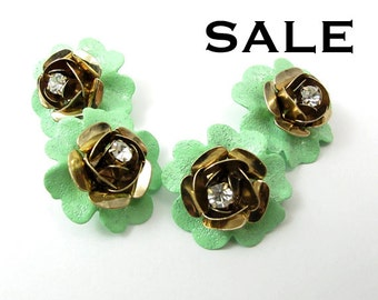 Vintage Mint Green Enamel & Gold Plated Flower with Crystal Pendants (4X) (E516) - SALE 25% off