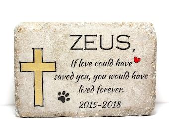 Pet Memorial Stone. 6x9 CUSTOM Burial Marker. Tumbled (Concrete) Paver Stone. Outdoor or Indoor Dog or Cat Memorial Stone. Pet Grave Marker