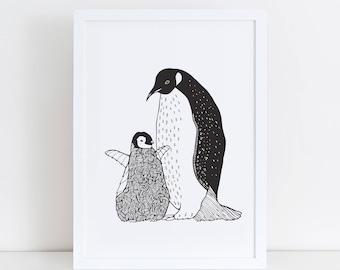Penguin Art Print | Mother Penguin Baby Penguin | Home Decor