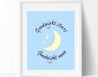 Goodnight Moon Nursery Wall Art, Digital Download, Printable