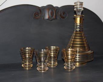 vintage glass carafe and 4 shot glasses, vintage glass, shot glasses