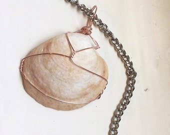 Rose gold wire wrapped shell necklace