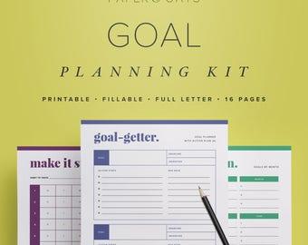 Goal Setting Planner, Printable Habit Plan, Habit Tracker Chart, Goal Setting Journal, Monthly Goals Sheet, Productivity Planner Printable
