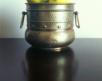 Vintage Rustic Hammered Brass Pot Planter With Handles Patina Germany FREE SHIPPING