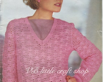 Lady's sweater crochet pattern. Instant PDF download!