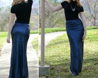 Navy Maxi Sequin Skirt - Gorgeous high quality sequins (S,M,L,XL) Ships asap