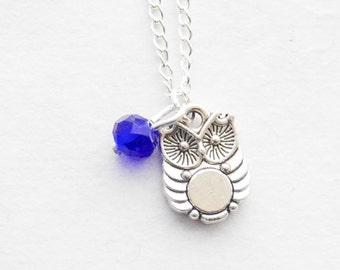 Tiny Owl Birthstone Necklace Personalized Crystal Necklace Owl Necklace Woodland Necklace Silver Owl Charm necklace Personalized birthstone