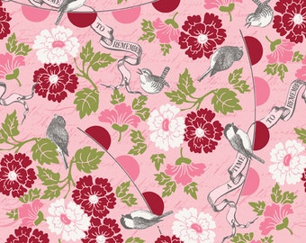 Clearance FABRIC REMEMBER ME Love Birds Valentine's Day Pink by Riley Blake  1/2 Yard