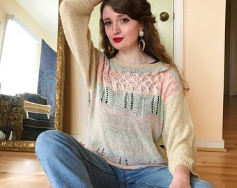 Vintage 80s/90s Pastel Lightweight Knit Sweater, Size Large