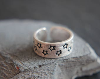 Star Star Ring Sternring from 925 sterling silver real Silver Star Black