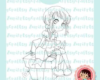 Digital Stamp, Mia,Present, Cute Girl, Scrapbooking Digital Stamp, Instant Download, Zuri Artsy Craftsy