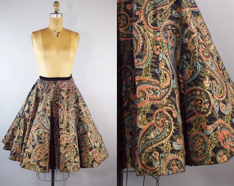 Vintage 1950s Paisley Print Circle Skirt with Velvet Waistband
