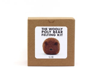 DIY Felted Bear Kit, Woolly Poly Bear Felting Kit, DIY Felting Kit