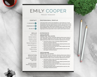 Modern Resume Template for Word, Creative, Modern Resume Design, Modern CV Template for Word, Digital Download Resume Template