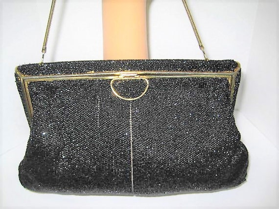 Bags by Josef, Black Beaded Evening Purse, Black Satin Lining , Gift for Woman, Hand Beaded in France,  Gift for Woman