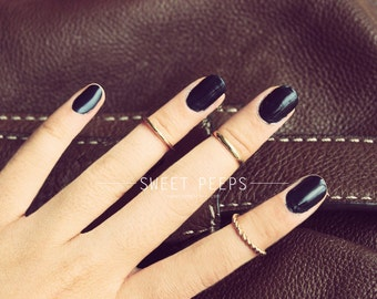 3 Gold Knuckle Rings, Midi Rings, Midi Ring, Above Knuckle ring, , twist ring