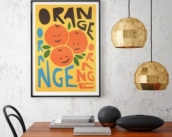 Orange Print, Fruit Art, Retro Kitchen Poster, Mid Century Modern, Kitchen Decor, Housewarming Gift, Foodie Art, Bright Art for Home
