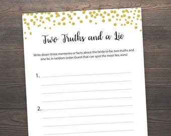 Gold Bridal Shower Games, Two Truths and a Lie, Printable Bridal Shower, Gold Bridal Shower, Wedding Shower Game Printable, J001