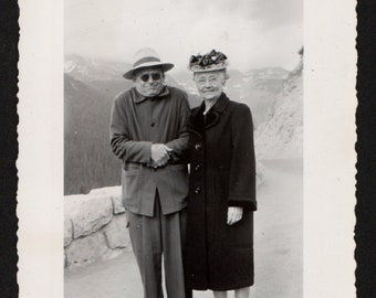 Vintage Snapshot Cold Man Poses with Mom Wearing Flowered Hat 1940's, Original Found Photo, Vernacular Photography