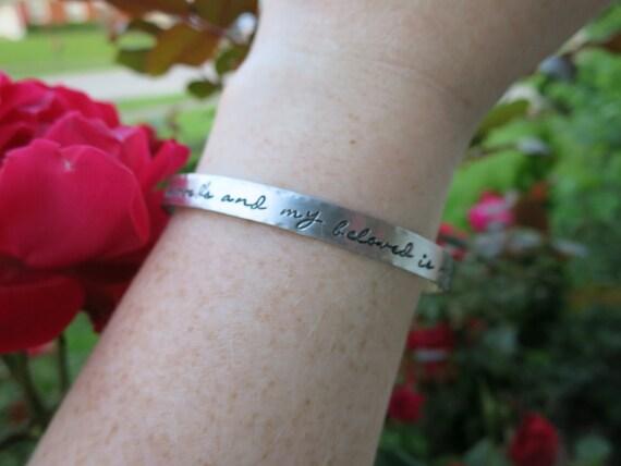 Custom Pewter Cuff Bracelet - Pewter Cuff - Personalized Cuff Bracelet - Organic Jewelry - I am my beloved's and my beloved is mine