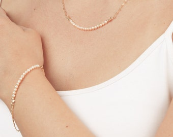 Gold Pearl Necklace and Bracelet Set, Tiny Pearl Bar Necklace, Pearl Bracelet, Bridal Jewelry Set, Wedding Jewelry, Blush Wedding .