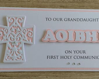 First Holy Communion Card Granddaughter/Grandson/Son/DaughterNiece/Nephew