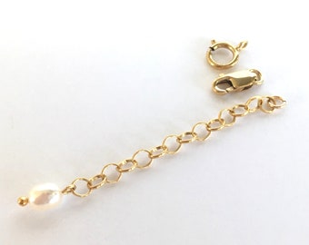 14K Gold Filled & Freshwater Pearl Extension Chain Finished Extender Chain for Necklace Bracelet with Pearl Charm