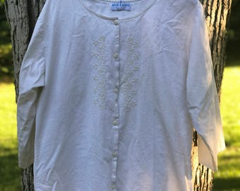 cotton 3/4 sleeve blouse