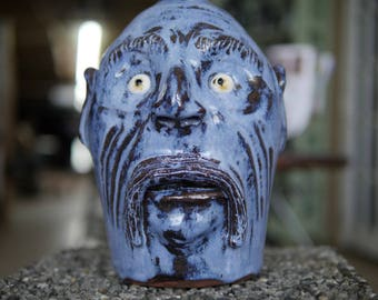 Blue Face Jug with a Mustache Handmade by Billy Joe Craven on His 70th Birthday!