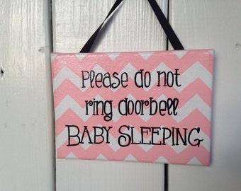 Baby Sleeping, Please Do Not Ring Doorbell Sign, Quiet Baby Sleeping, Please knock