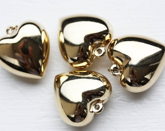 Puffy Gold Hearts, Gold Heart Charms, Heart Charms (2x)